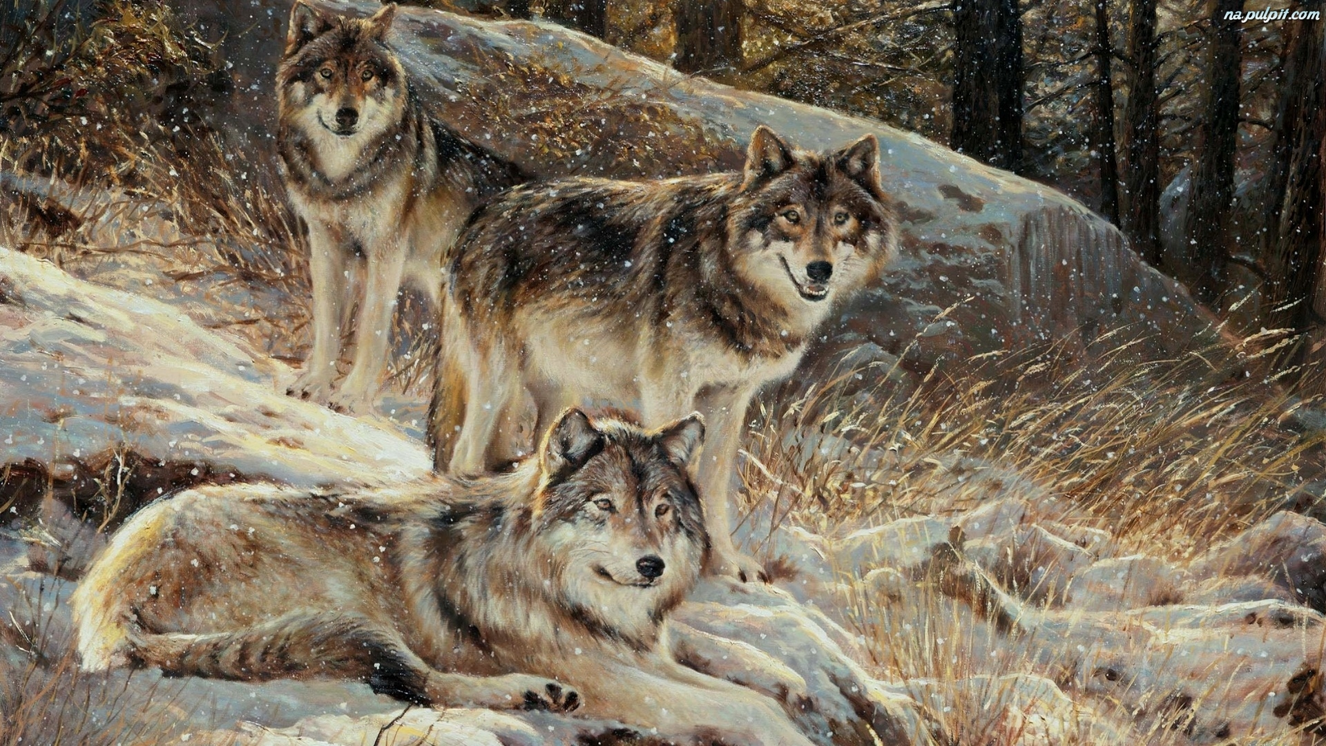 Inspirational Quotes with Wolves Painting